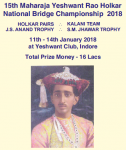15th Maharaja Yeshwant Rao Holkar National Bridge Championship 2018